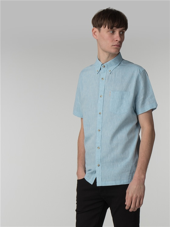 Short Sleeve Plain Linen Shirt