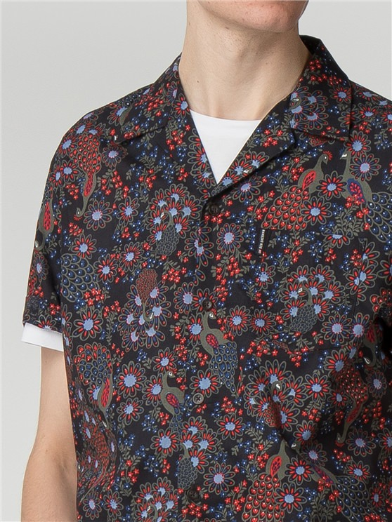 Short Sleeve Peacock Print Shirt