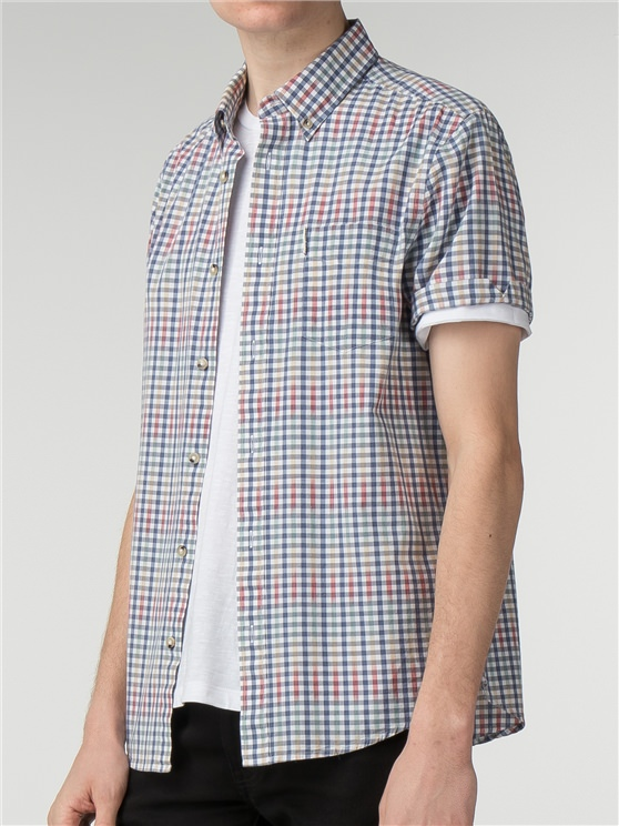 Short Sleeve Graduated Gingham Shirt