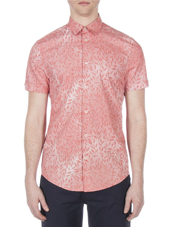 Short Sleeve Reverse Linear Floral Print Shirt