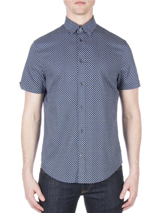 Short Sleeve Apple Print Twill Shirt