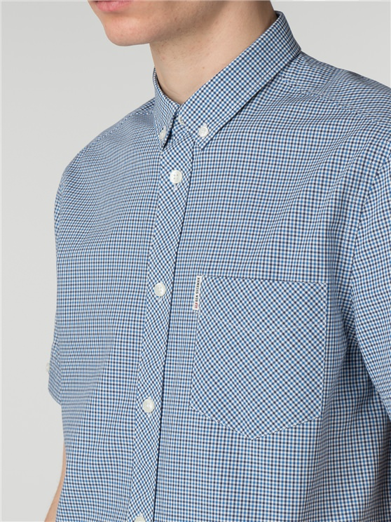 Blue Short Sleeve Mini House Gingham Shirt