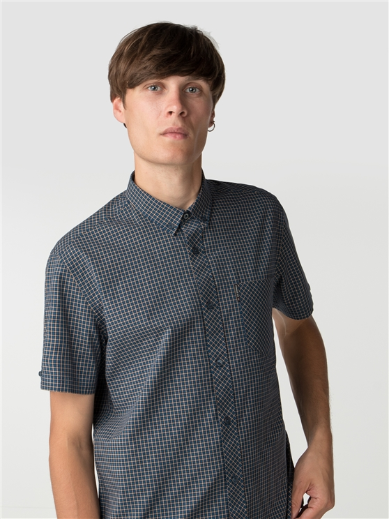 Brown Short Sleeve Mini House Gingham Shirt