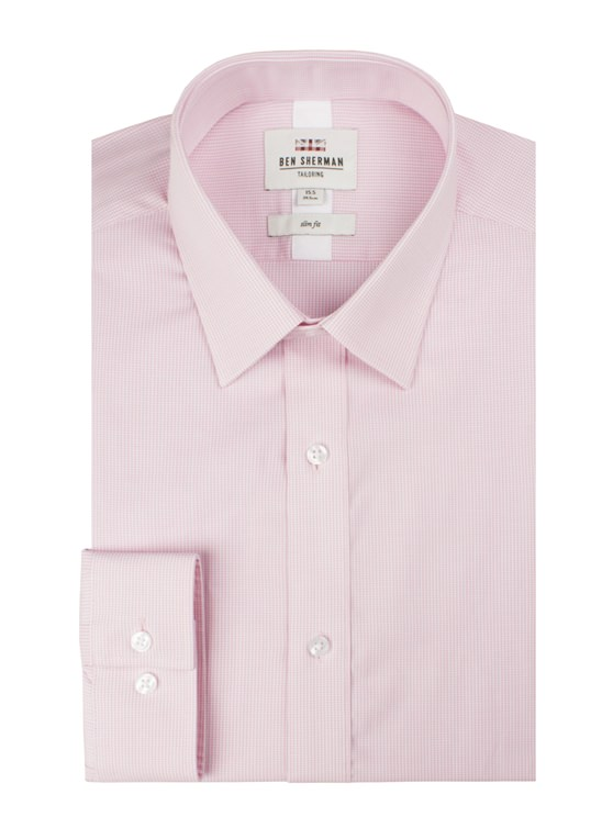 Pink Long Sleeve Mini House Gingham Shirt