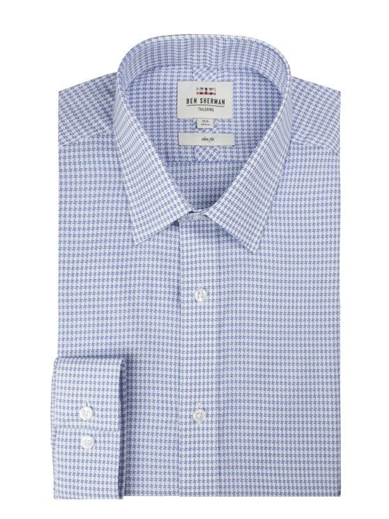 LS DOBBY DOGTOOTH FORMAL SHIRT
