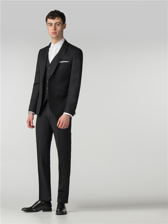 Jet Black Twill Camden Fit 3 Piece Three Piece Suit