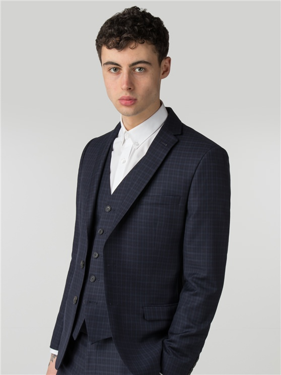 Peacoat Mini Tonal Check Camden Fit Suit