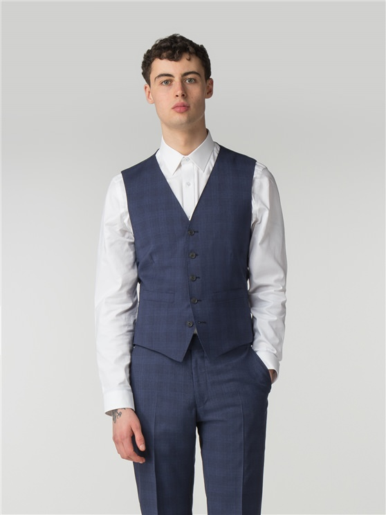 Sapphire Blue Check Camden Fit Waistcoat
