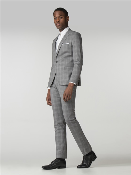 Light Grey and Blue Overcheck Camden Fit Suit