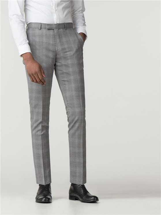 Grey With Blue Overcheck Camden Fit Trouser