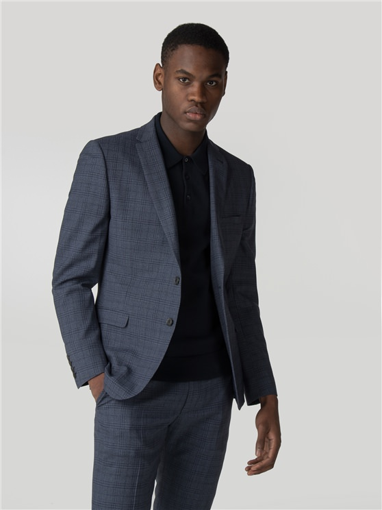 Airforce Blue Jaspe Check Suit