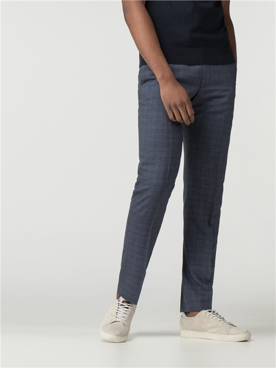 Airforce Blue Jaspe Check Trouser
