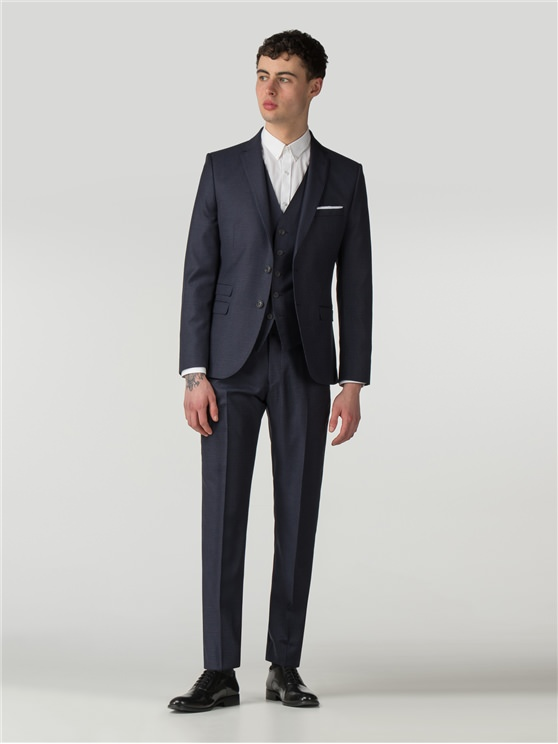 Deep Blue Tonal Texture Camden Fit Three Piece Suit
