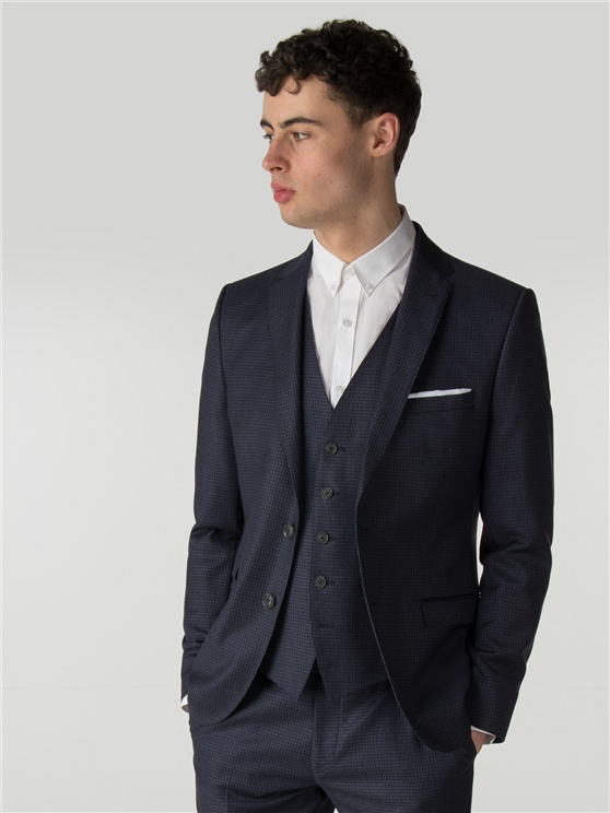 Deep Blue Tonal Texture Camden Fit Suit