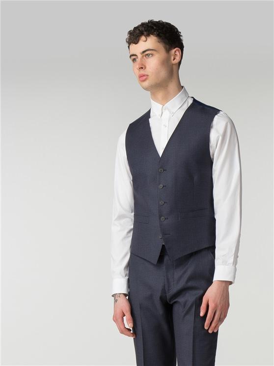Deep Blue Tonal Texture Camden Fit Waistcoat