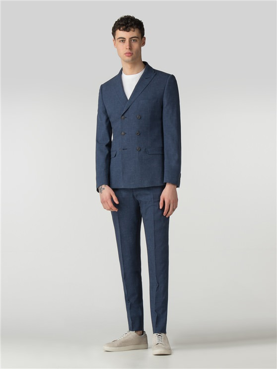Summer Blue Fleck Camden Fit Double Breasted Suit