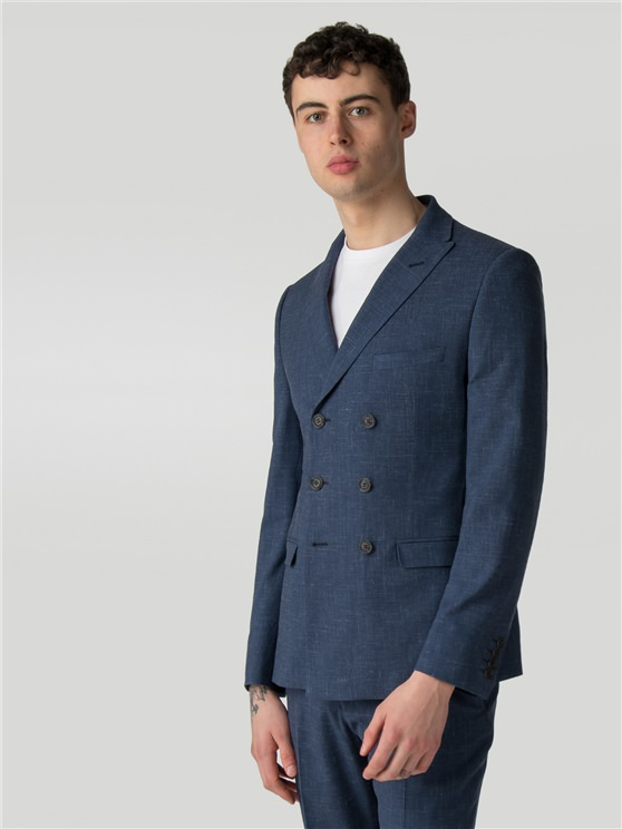 Summer Blue Fleck Camden Fit Double Breasted Jacket
