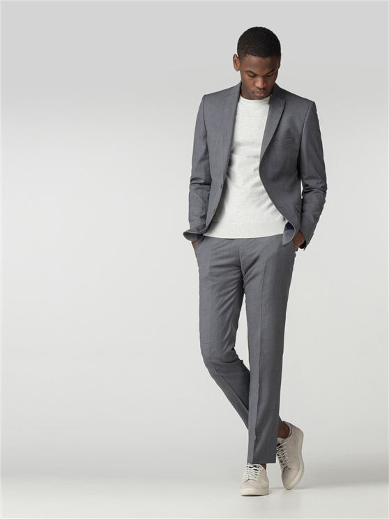 Smoked Grey Blue Micro Camden Fit Suit