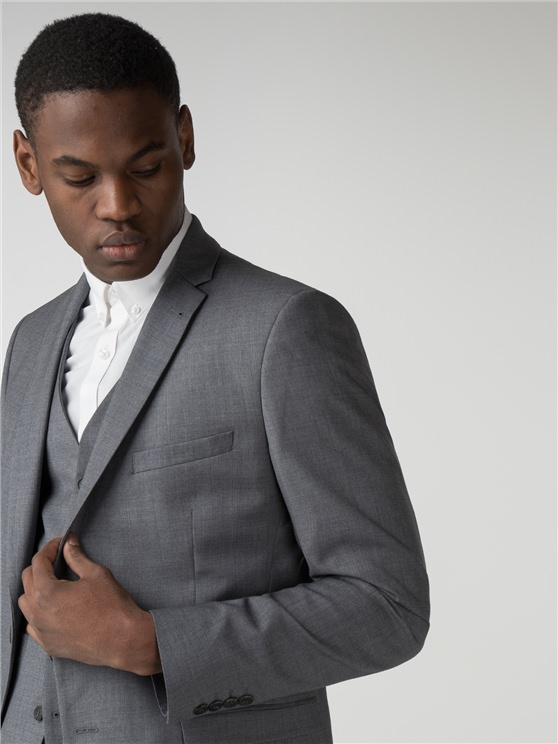 Smoked Grey Blue Micro Camden Fit Three Piece Suit