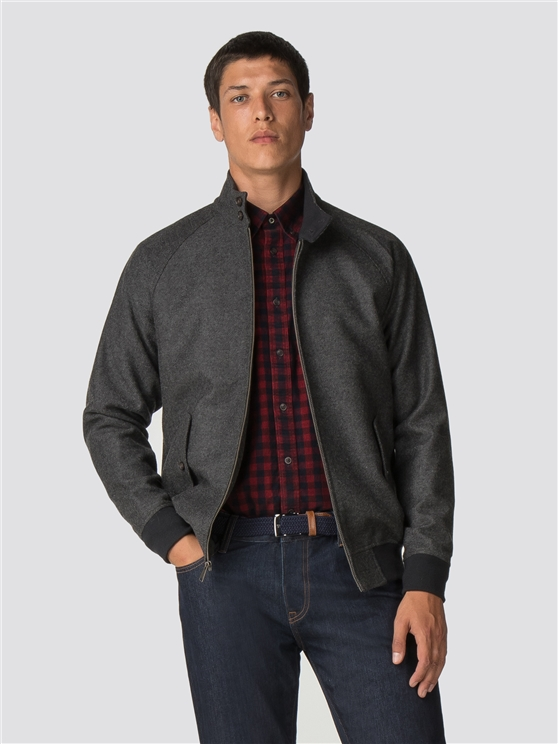 Grey Wool Harrington Jacket