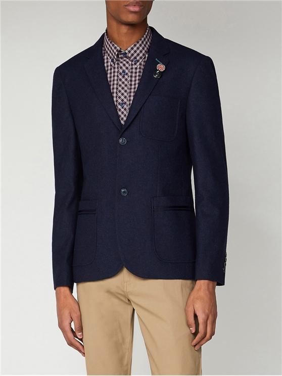 Navy Tipped Flannel Blazer