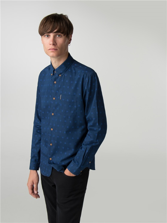 Long Sleeve Indigo Spot Print Shirt