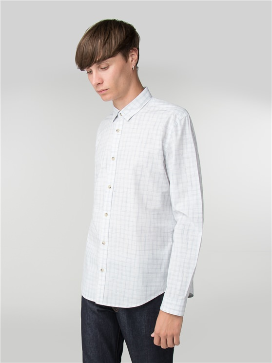 White Long Sleeve Nep Spacedye Check Shirt