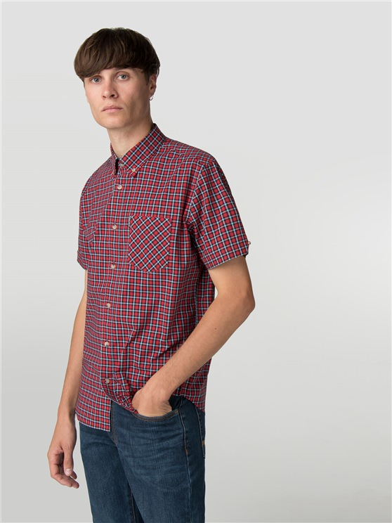 Red Short Sleeve Pop Check Shirt