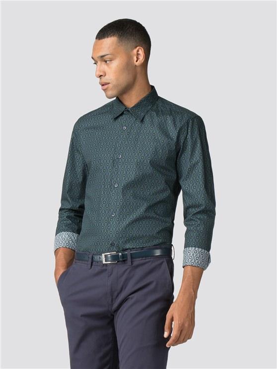 Green Long Sleeve Wallpaper Geo Shirt