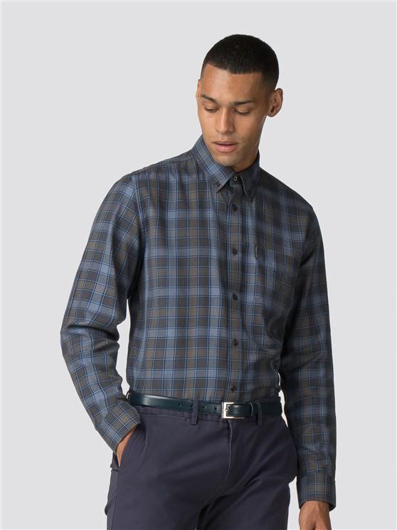Dark Blue Long Sleeve Heritage Checked Shirt