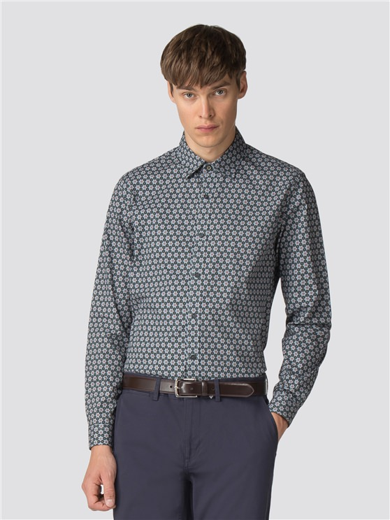 Stone Long Sleeve Retro Wallpaper Print Shirt