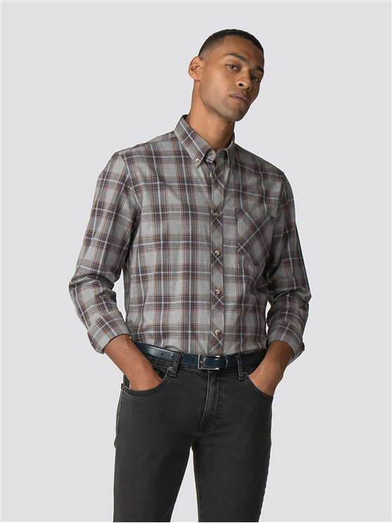 Grey Long Sleeve Marl Tartan Shirts