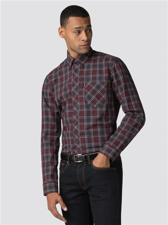 Mauve Wine Long Sleeve Marl Tartan Shirt