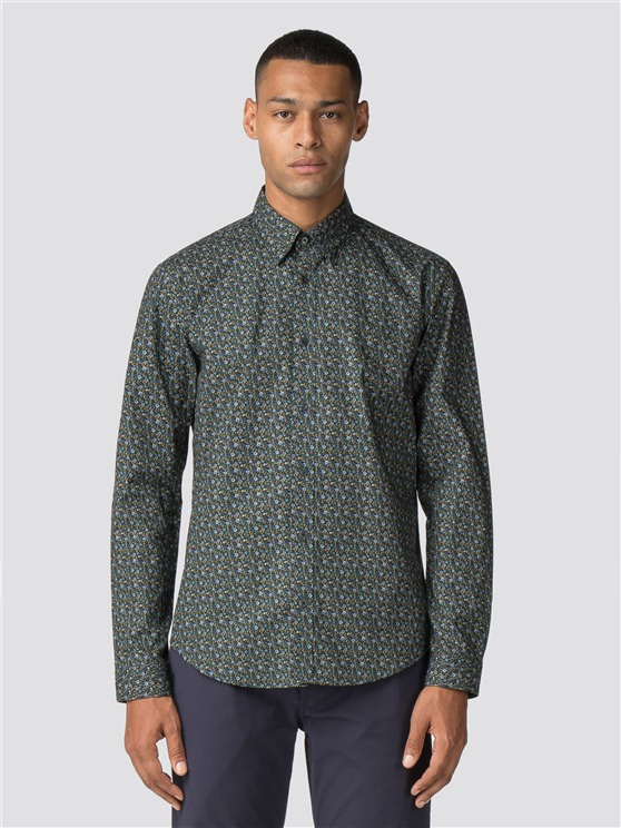 Green Long Sleeve Multicolour Floral Shirt