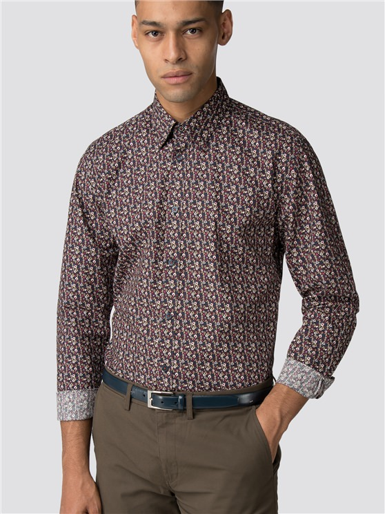 Camel Long Sleeve Multicolour Floral Shirt