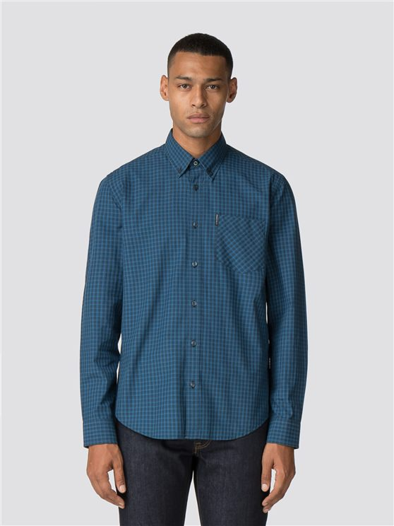 Blue Long Sleeve Ombre Checked Shirt