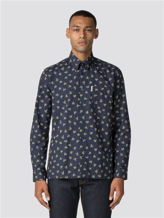 Navy Blue Long Sleeve Archive Casino Shirt