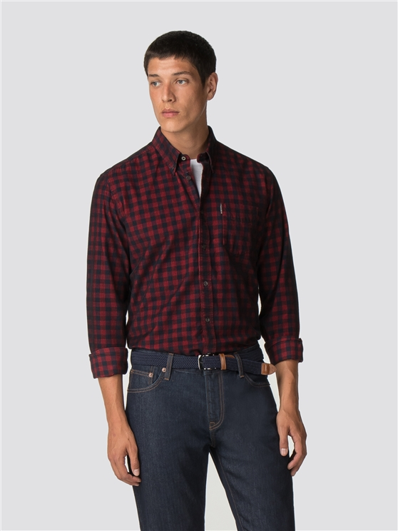 Long Sleeve Cord Gingham Shirt