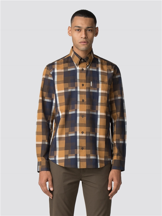 Long Sleeve Blocked Checkerboard Shirt