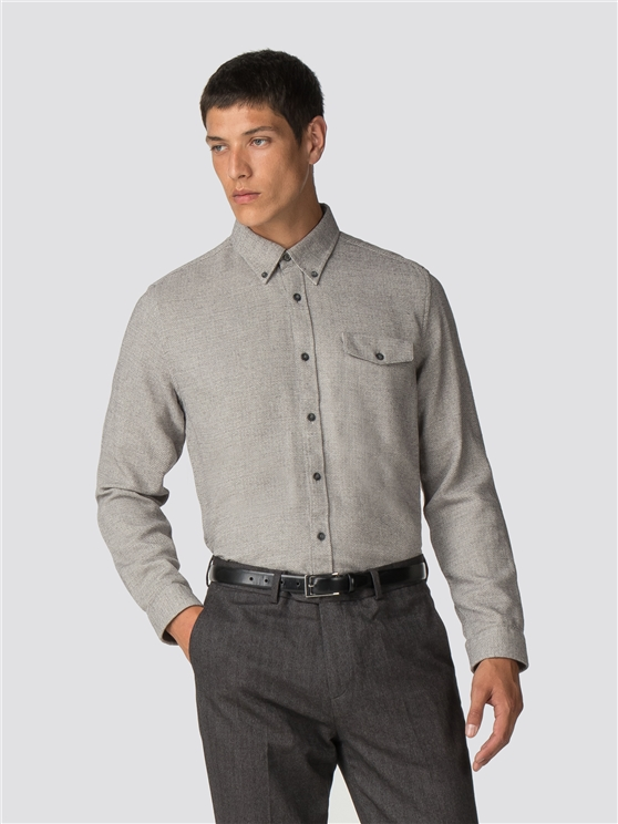 Long Sleeve Textured Parquet Shirt