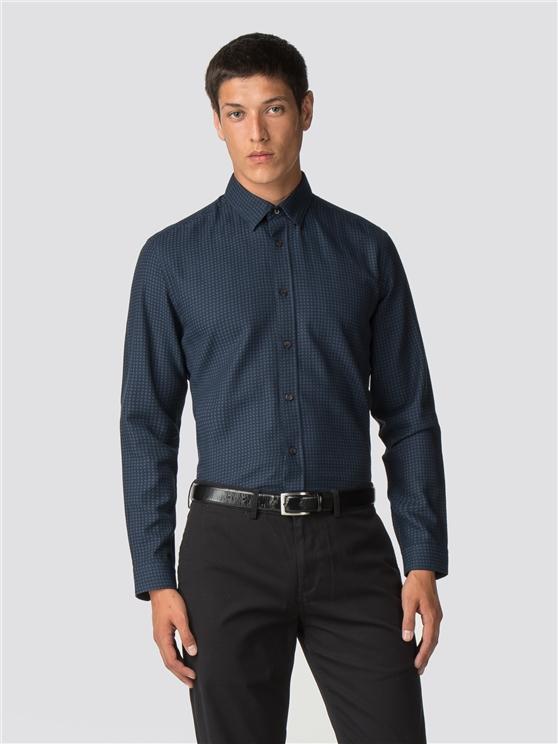Long Sleeve Herringbone Polka Dot Shirt