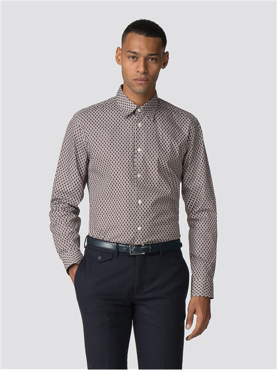 Long Sleeve Parquet Geo Print Shirt