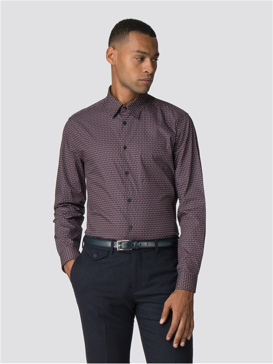 Mauve Wine Long Sleeve Parquet Geo Print Shirt