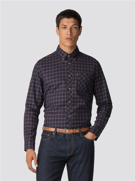 Long Sleeve Reverse Twill Check Shirt