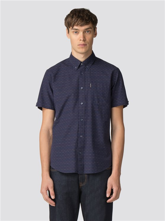 Blue Short Sleeve Raised Texture Shirt