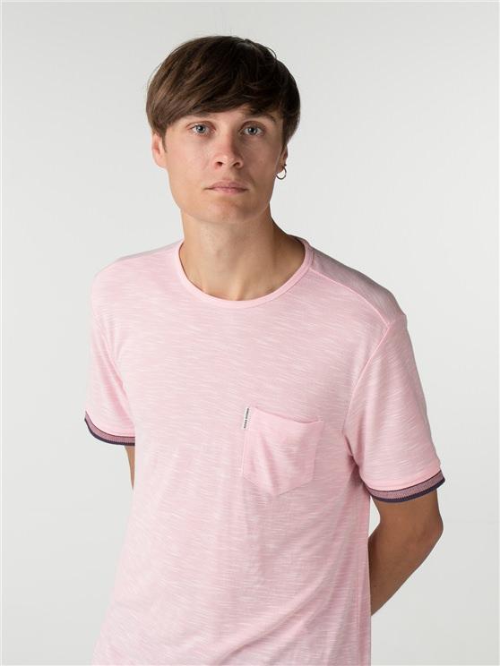 Pink Jacquard Cuff T-shirt