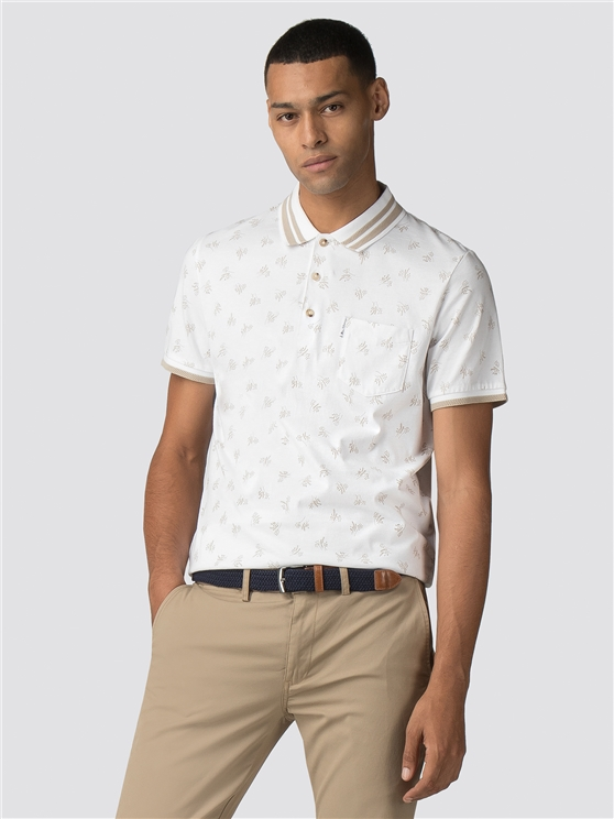 White Archive Print Polo Shirt