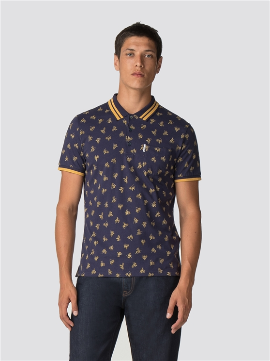 Navy Blue Archive Print Polo Shirt