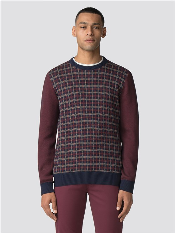 Fractured Check Crew Neck Jumper