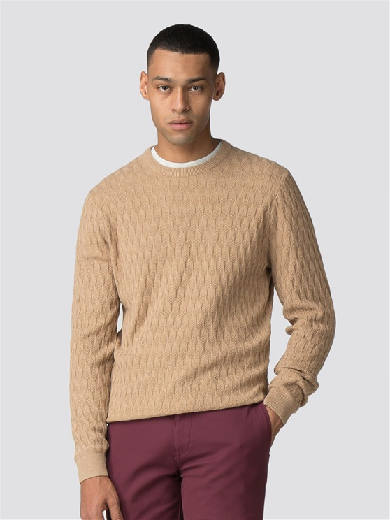 Brown Textured Crew Neck Jumper